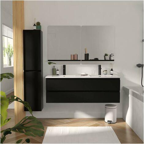 Meuble de Salle de Bain Double Vasque 120 cm Noir Carbone + Colonne + 2 miroirs SORRENTO - Noir