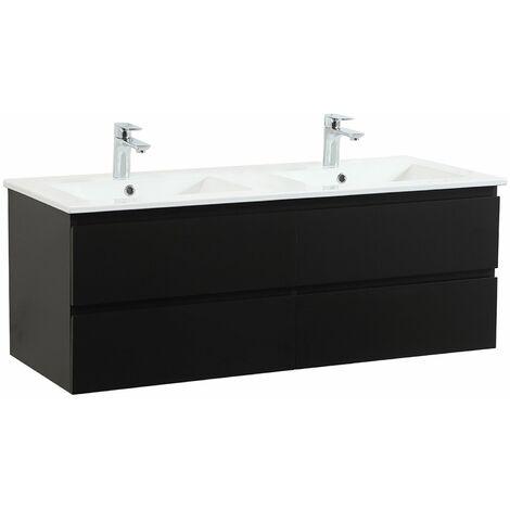 Meuble de Salle de Bain Double Vasque 120 cm Noir Carbone SORRENTO - Noir