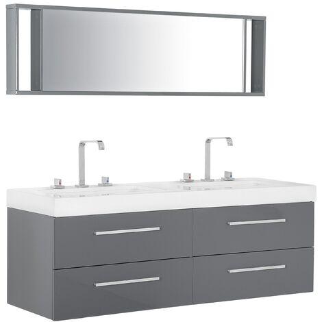 Meuble de salle de bain double vasque à tiroirs avec miroir
