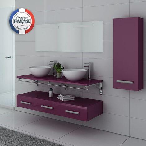 Meuble de salle de bain double vasque Aubergine VIRTUOSE DUO