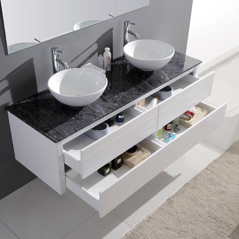 Meuble de salle de bain double vasque design - Blanc
