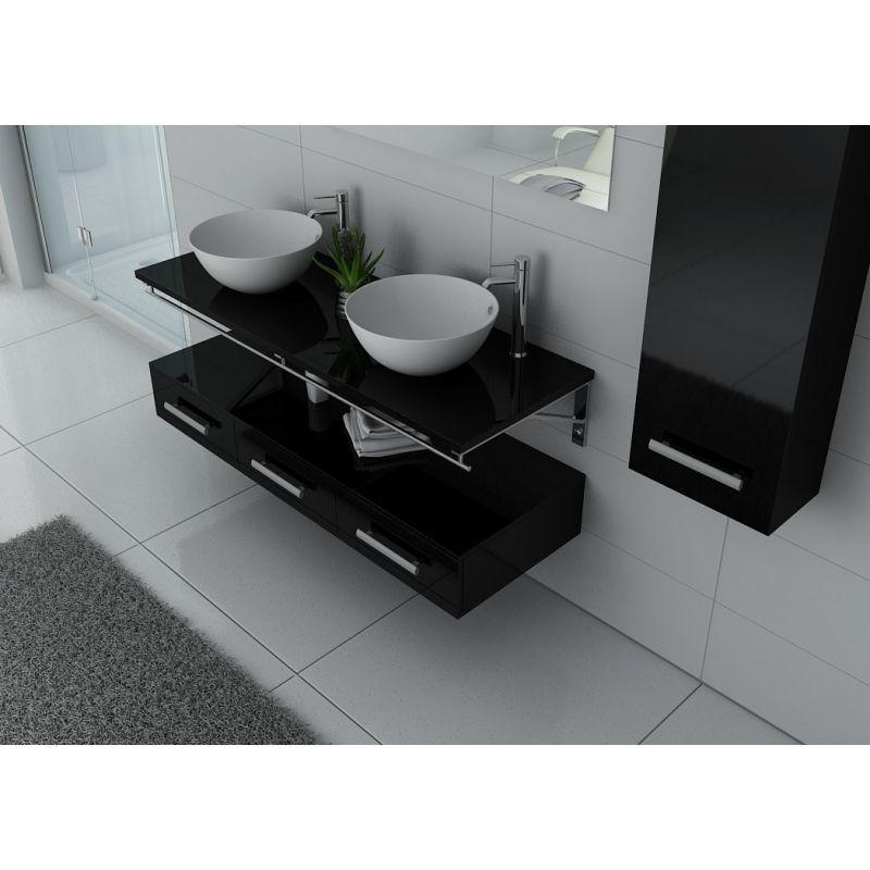Meuble de salle de bain double vasque Noir VIRTUOSE DUO