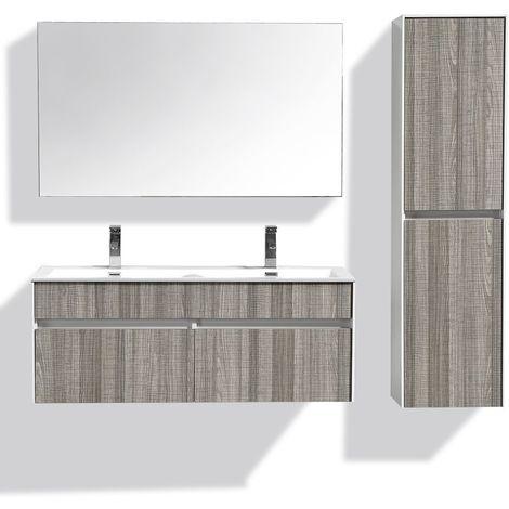 Meuble de salle de bain double vasque suspendu en bois gris chiné 120CM