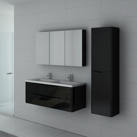 Meuble de salle de bain double vasque TREVISE 1200 Noir