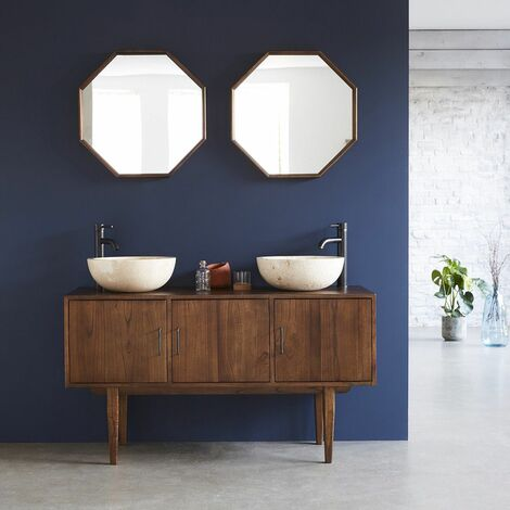 Meuble de salle de bain en bois de mindy 135 - Marron