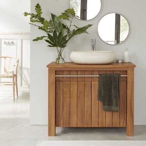 Meuble de salle de bain en bois de teck 103 cm - Naturel