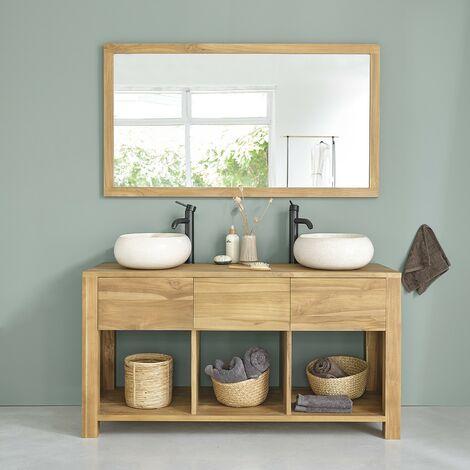 Meuble de salle de bain en bois de teck 145 - Naturel
