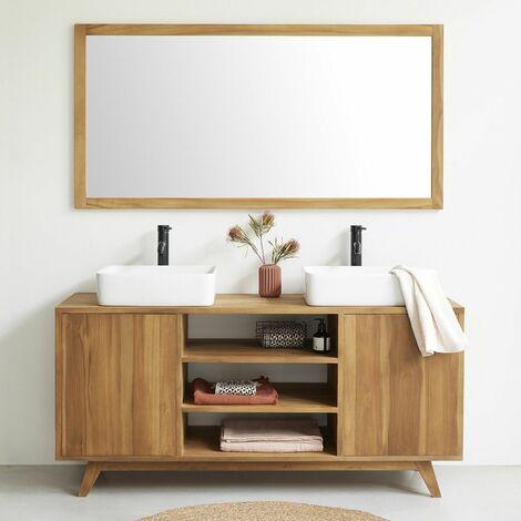 Meuble de salle de bain en bois de teck 160 cm - Naturel