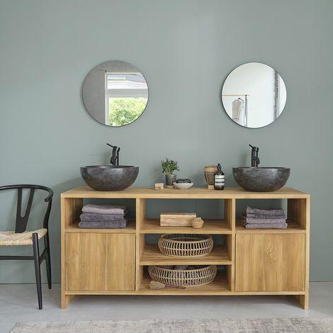 Meuble de salle de bain en bois de teck 160 - Naturel