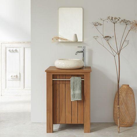 Meuble de salle de bain en bois de teck 60 cm - Naturel