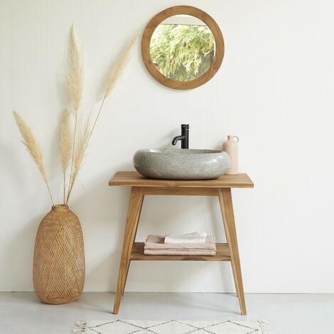 Meuble de salle de bain en bois de teck 80 cm - Marron