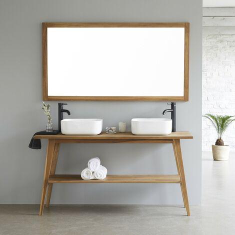 Meuble de salle de bain en bois de teck double plateau 150