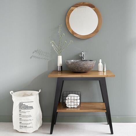 Meuble de salle de bain en bois de teck double plateau 80 - Naturel