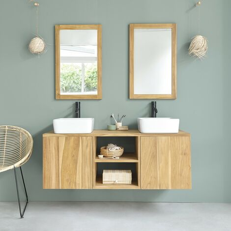 Meuble de salle de bain en bois de Teck suspendu 135