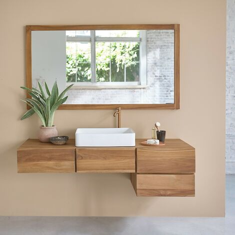 Meuble de salle de bain en bois de teck suspendu 145 - Naturel