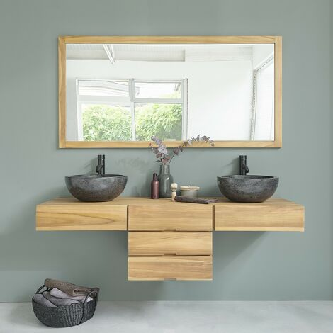 Meuble de salle de bain en bois de teck suspendu 160 - Naturel