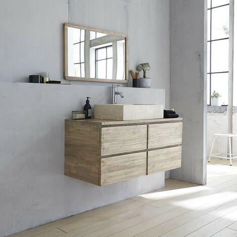 Meuble de salle de bain en bois d'hévéa suspendu 100