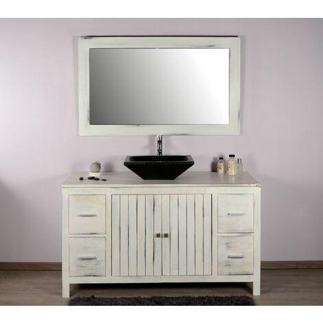 Meuble de salle de bain en teck baggi blanc
