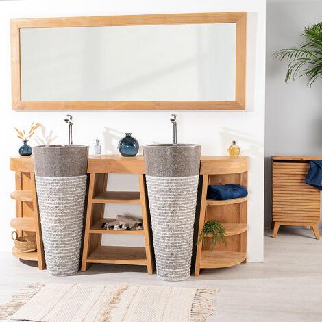 Meuble de salle de bain en teck Florence double 180cm + vasques gris