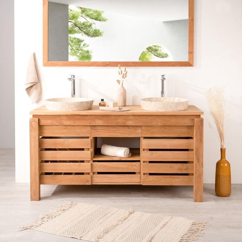 Meuble de salle de bain en teck zen double vasque 145cm 439 Meuble vasque pour petite salle de bain