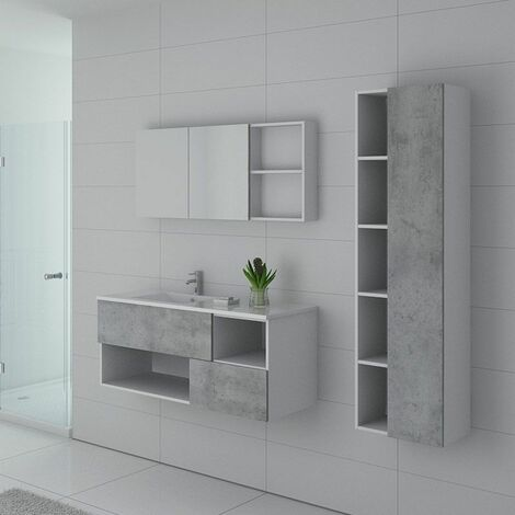 Meuble de salle de bain FARALDI 1200 Béton et Blanc