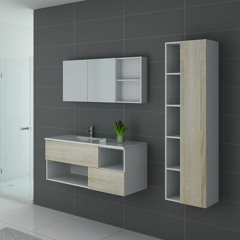 Meuble de salle de bain FARALDI 1200 Scandinave et Blanc