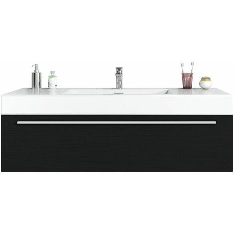 Meuble de salle de bain Garcia 120cm lavabo bois noir – Armoire de ...