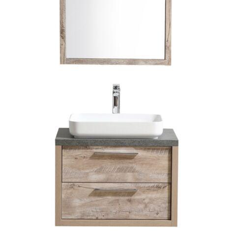"""main image of """"Meuble de salle de bain Indana 70 cm - Nature wood – Meuble de lavabo + miroir - Chene gris"""""""