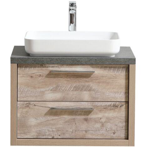 Meuble de salle de bain Indiana 70cm lavabo nature wood – Armoire de rangement Meuble lavabo miroir