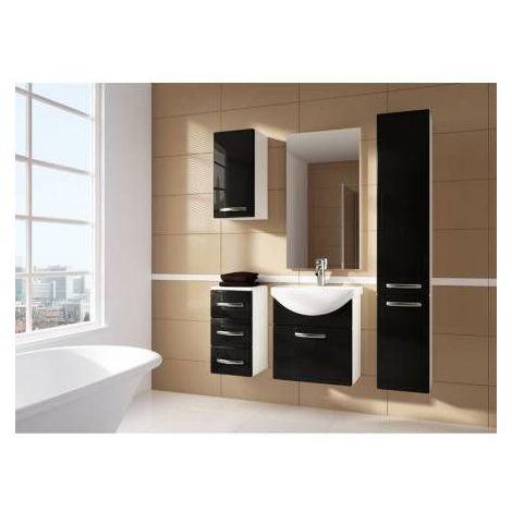 Meuble de salle de bain KORAL noir 55CM avec colonne