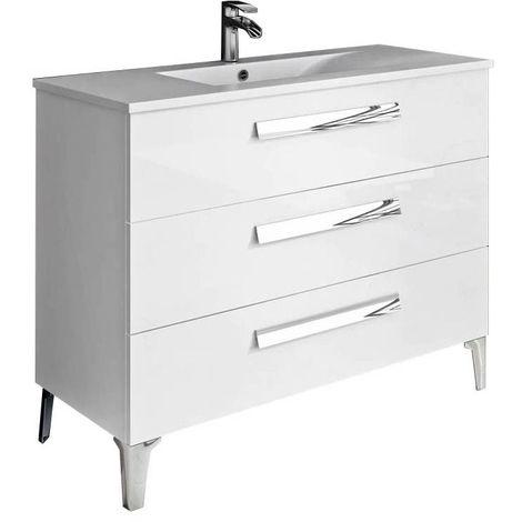 Meuble de salle de bain LINARES 100 cm Blanc brillant