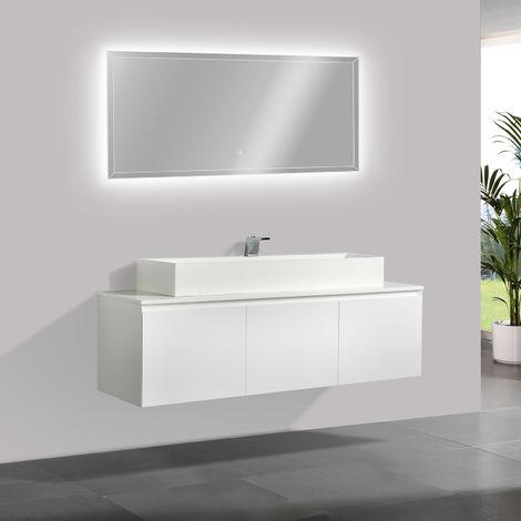 Meuble de salle de bain Luna 1600 blanc mat avec plan vasque en solid surface - vasque & miroir disponible en option