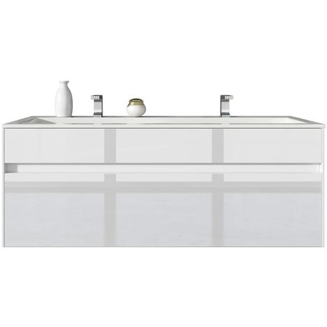 meuble de salle de bain lyon 120cm lavabo blanc brillant armoire de rangement meuble lavabo. Black Bedroom Furniture Sets. Home Design Ideas