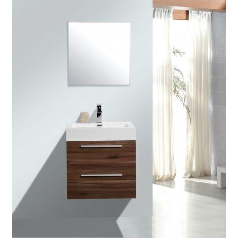 Meuble de salle de bain M600 couleur noyer/marron foncé - Miroir en ...