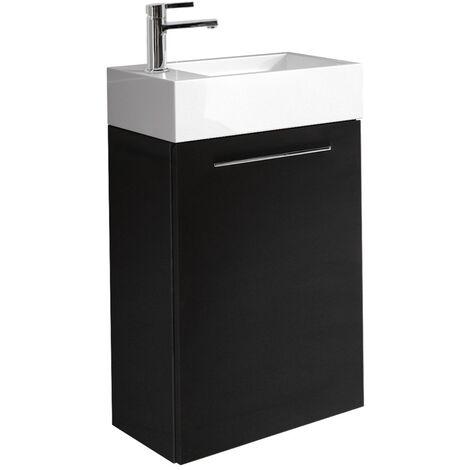 Meuble de salle de bain Madrid Blanc brillant 40x22 cm Armoire de rangement Meuble lavabo evier Meubles