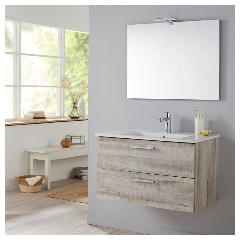 Meuble de salle de bain Mall 80 cm couleur bois blanchi grisé Coral