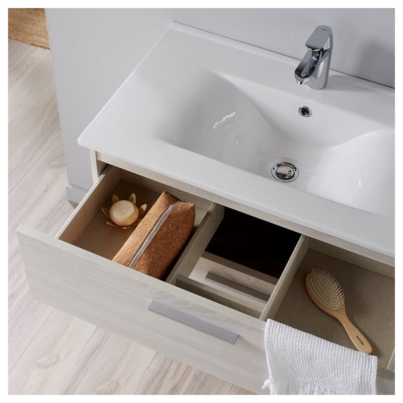 Meuble de salle de bain Mall 80 cm couleur bois blanchi Hibernian -
