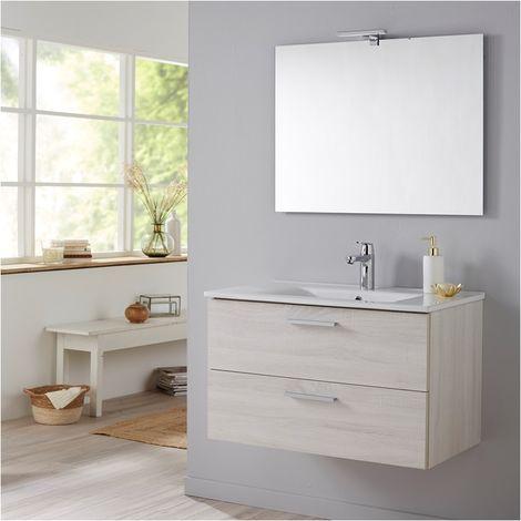 Meuble de salle de bain Mall 80 cm couleur bois blanchi Hibernian