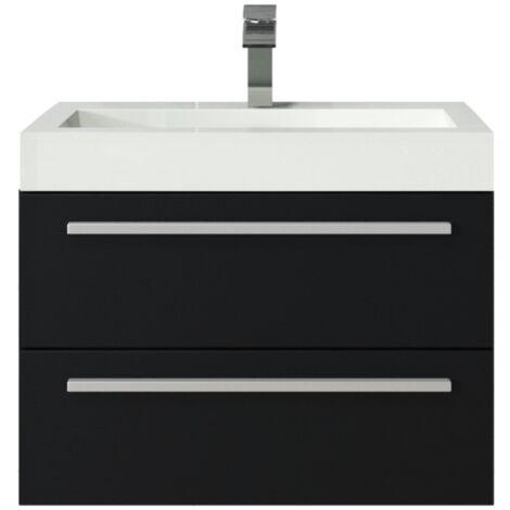 Meuble de salle de bain Marseille 60cm lavabo Chene gris – Armoire de rangement Meuble lavabo
