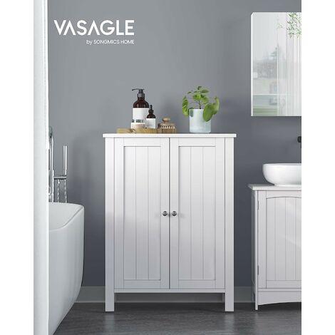 Meuble de salle de bain Meuble de rangement 2 portes battantes 3 cassier Séparateurs amovibles Dimensions du produit: 60 x 30 x 80cm Blanc BCB60W