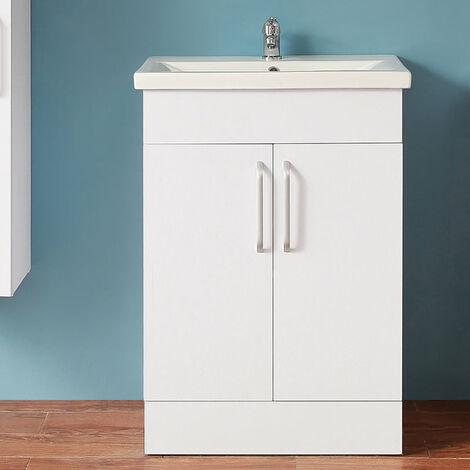 Meuble de salle de bain  meuble lave-mains � poser avec lavabo int�gr�  meuble de rangement double porte et étagères  Blanc 60cm