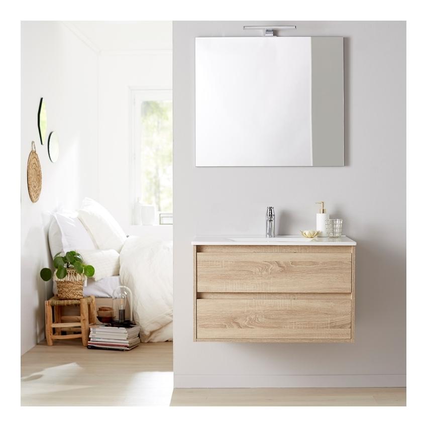 Meuble de salle de bain + miroir 80 Siris couleur chêne cambrian