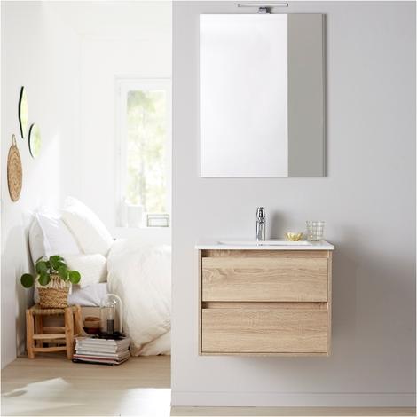Meuble de salle de bain+miroir Siris 60 chêne cambrian