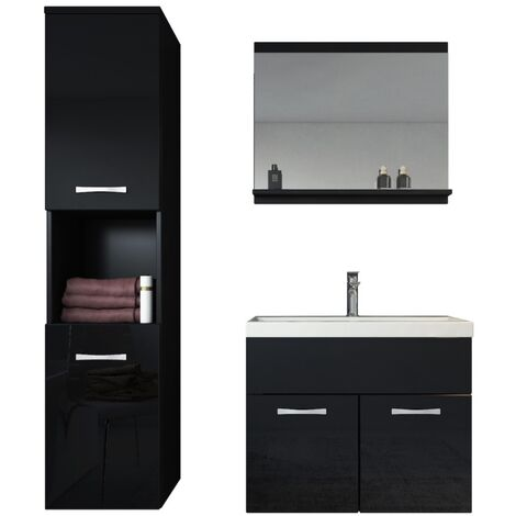 Meuble de salle de bain Montreal 60 cm lavabo Noir brillant ...