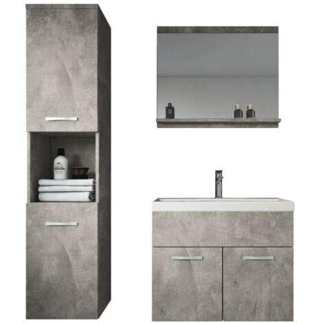 Meuble de salle de bain Montreal 60 cm lavabo Beton - Armoire de rangement Meuble lavabo evier Meubles