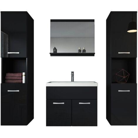 Meuble De Salle De Bain Montreal Xl 60 Cm Lavabo Noir Brillant   Armoire De  Rangement Meuble Lavabo Evier Meubles