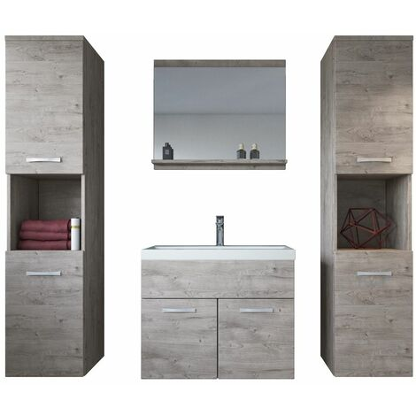 Meuble de salle de bain Montreal xl 60 cm lavabo Ribbeck Grey - Armoire de rangement Meuble lavabo evier Meubles