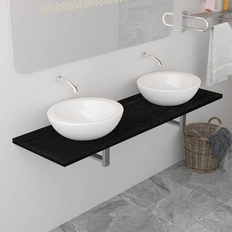 Meuble de salle de bain Noir 160x40x16,3 cm