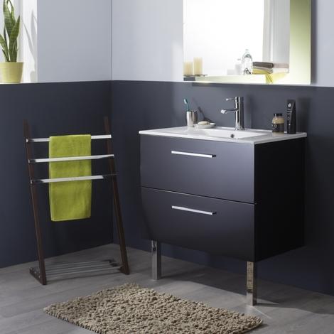 Meuble de salle de bain noir laqué brillant en 80 cm