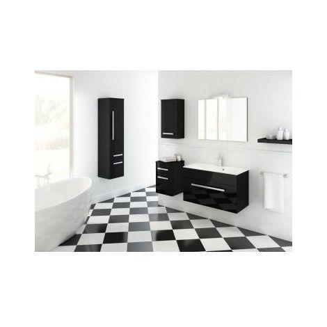 Meuble de salle de bain OLEX noir 80cm - Colonne : sans colonne